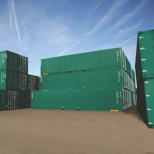 Group of storage containers stacked on top of each other