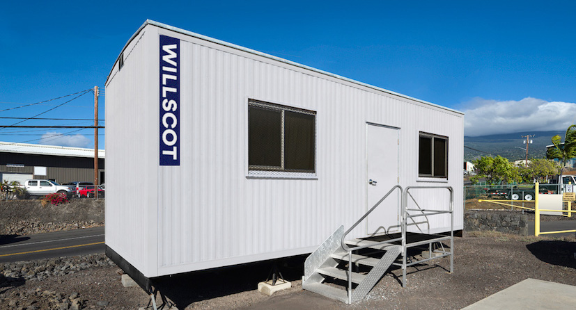 A WillScot mobile office trailer at a jobsite
